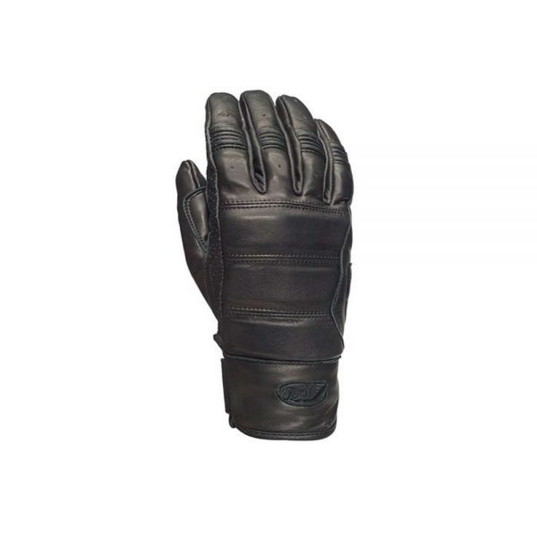 Roland Sands Design Ronin Leather Glove has a Top Grain Cowhide Low profile hook'n'loop tab close Custom RSD embroidered branding Flex ribbed knuckles Reinforced and padded palm, padded back of hand Pre-curved ergonomic fit